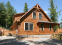Log cabin rental with mountain view