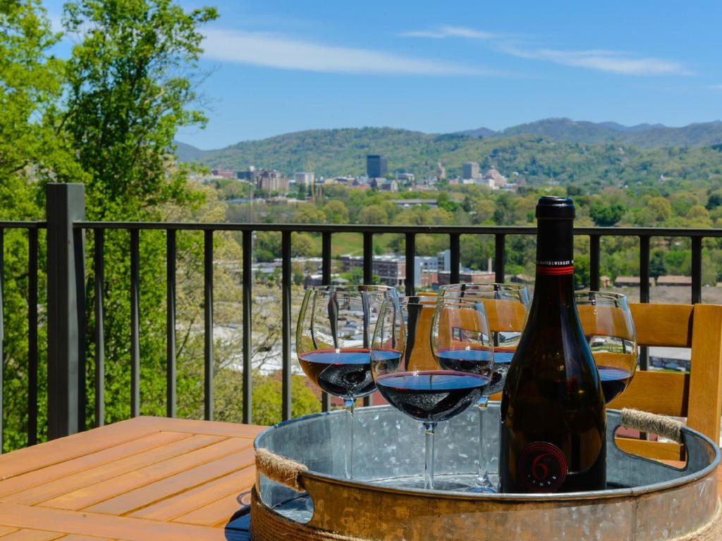 Stunning view of downtown Asheville from an affordable vacation rental