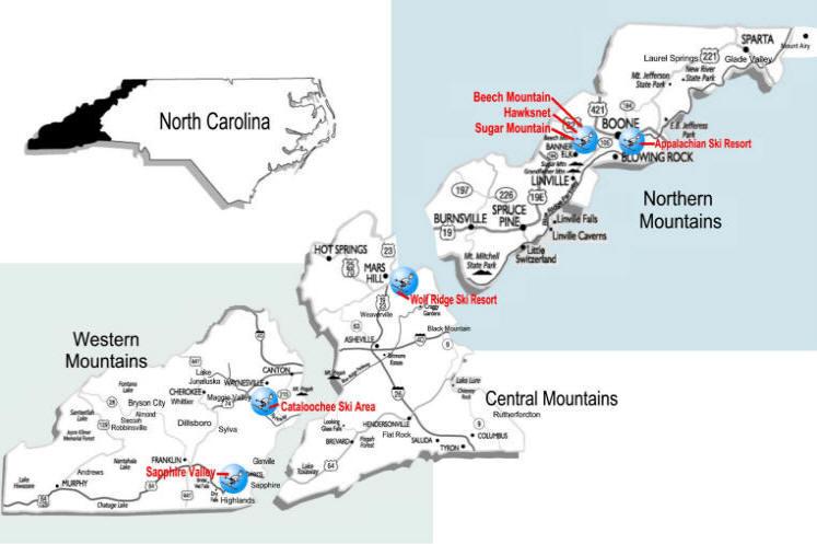 NC Ski Resorts and Ski Areas in the North Carolina Mountains